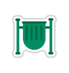Park trash urn in paper vector