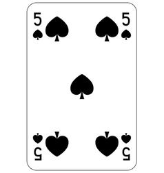 Poker playing card 5 spade vector image