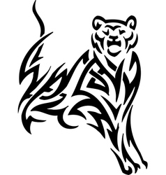 Puma in tribal style - vector
