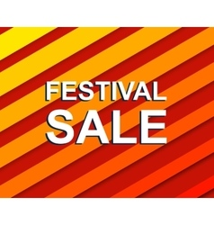 Red striped sale poster with festival sale text vector