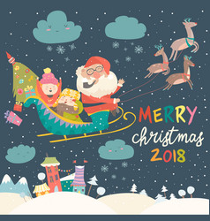 santa claus and kids with reindeer sleigh vector image