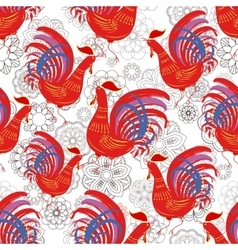 Seamless pattern with color fire cock on line art vector