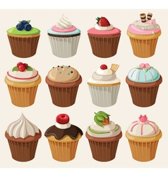 Set of cupcakes with different toppings vector