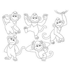set of cute cartoon monkeys vector image vector image