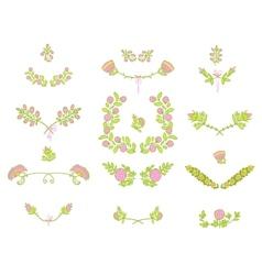 Set of floral graphic design elements vector image
