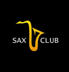 style logo for sax club golden saxophone vector image vector image