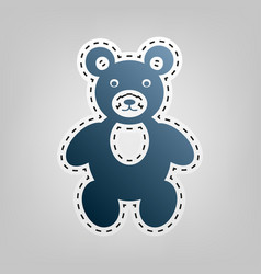 teddy bear sign blue icon vector image vector image