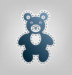 Teddy bear sign blue icon vector