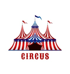 Vintage circus tent with flags and stars vector