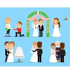 Wedding party characters vector image vector image