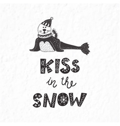 Winter postcard with quote and phrase funny seal vector