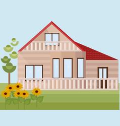 wood house or farm sunflowers landscape vector image