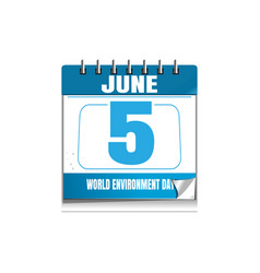 World environmental day blue wall calendar 5 june vector