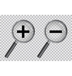 magnifying glass plus and minus vector image