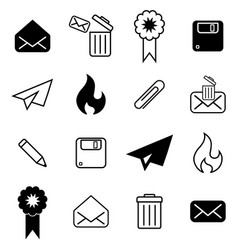 Set with different mail icons vector