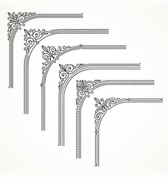 Flourishes ornate frame or corner design elements vector
