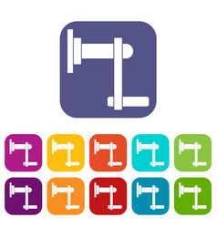 Twist tool icons set flat vector