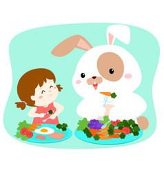 Little cute girl eating vegetable with fluffy vector
