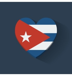 Heart-shaped icon with flag of Cuba vector image
