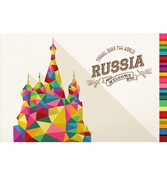 Travel russia landmark polygonal monument vector