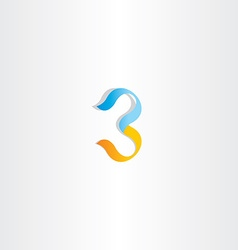 stylized logo number 3 three third icon vector image