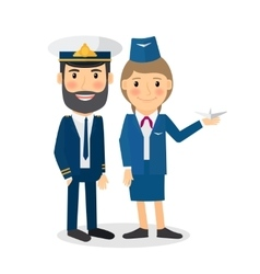 Pilot and stewardess characters vector