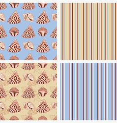 Seamless sea vintage background with seashells vector
