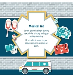 Ambulance rescue elements on brick wall background vector