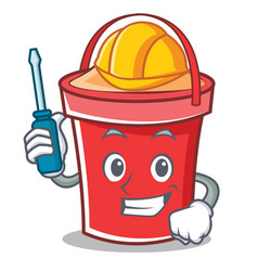 automotive bucket character cartoon style vector image