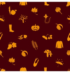autumn icons orange seamless pattern eps10 vector image