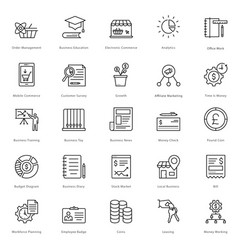 Banking and finance line icons 21 vector