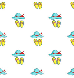 Beach hat with flip-flops icon in cartoon style vector