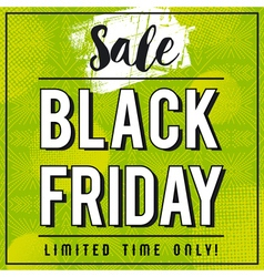 Black friday sale banner on green patterned backgr vector