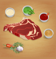 Boston steak with delicious sauces and spices vector