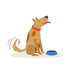 Brown pet dog wating to be fed with dog food vector