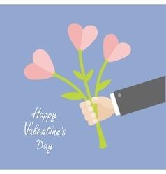Businessman hand holding bouquet of heart flowers vector