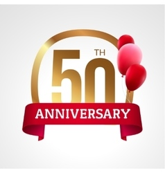 Celebrating 50th years anniversary golden label vector
