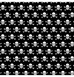 Crossbones and skull pattern on black background vector image vector image