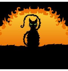 decorative black cat vector image