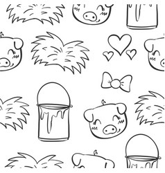Doodle pig and grass hand draw vector