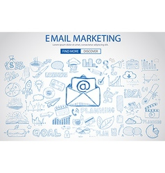 Email marketing with doodle design style sending vector