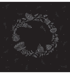 Floral wreath for your text on the black vector
