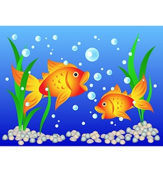 Goldfish in aquarium vector