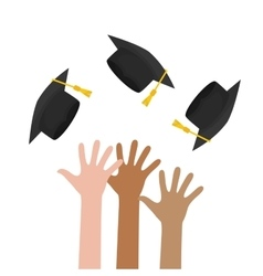 Graduation cap and hand icon University design vector image