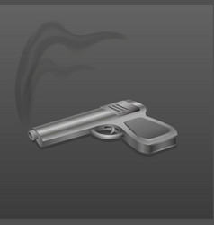 gun with smoke on dark background vector image