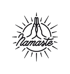 Hand drawn namaste sign Yoga center emblem vector image