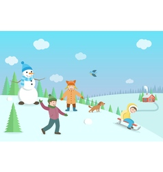 Happy kids playing winter games Winter landscape vector image
