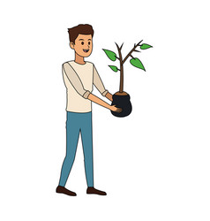 Happy person with plant icon image vector