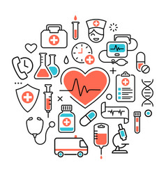 Health heart care concept medical icons signs vector