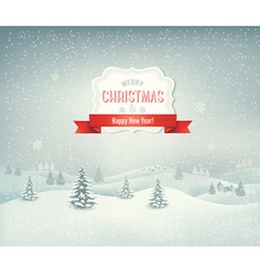 Holiday christmas background with winter landscape vector image vector image